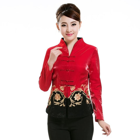 Majestic Flower Embroidery Jacket (Red)