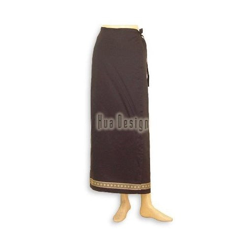 Black Sari Thai Wrap Skirt (Design 2)