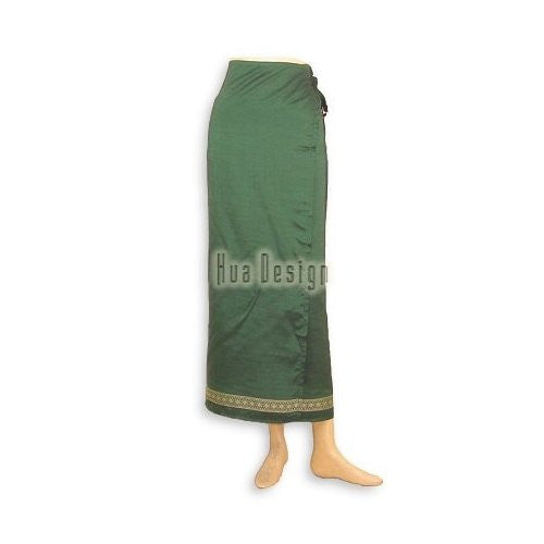 Green Sari Thai Wrap Skirt (Design 2)