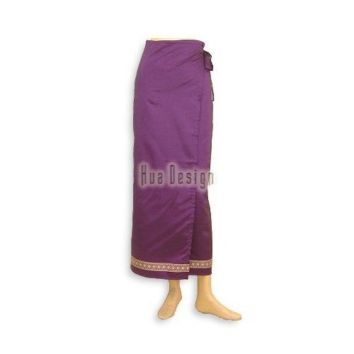 Purple Sari Thai Wrap Skirt (Design 2)