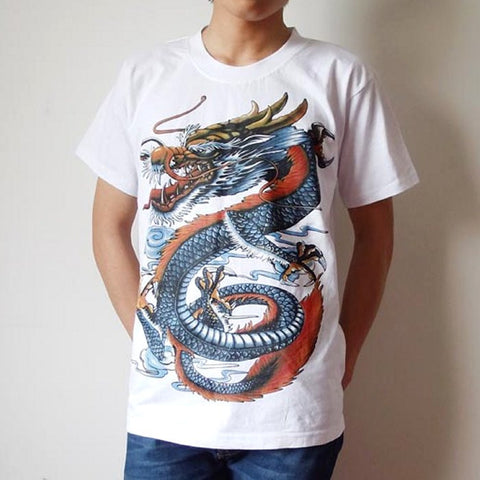 Chinese Dragon Printed Vintage T-Shirt