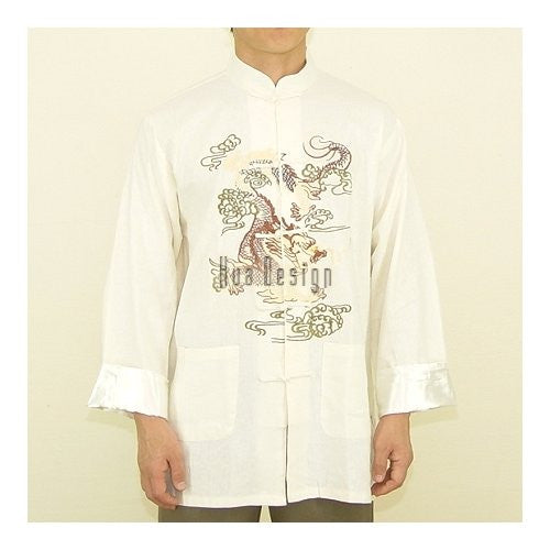 Cream Embroidered Dragon Linen Shirt (Long Sleeves)