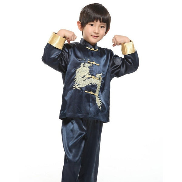 Boys Embroidered Dragon Suit (Blue)
