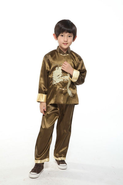 Boys Embroidered Dragon Suit (Bronze)