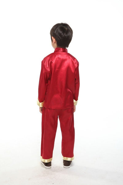 Boys Embroidered Dragon Suit (Red)