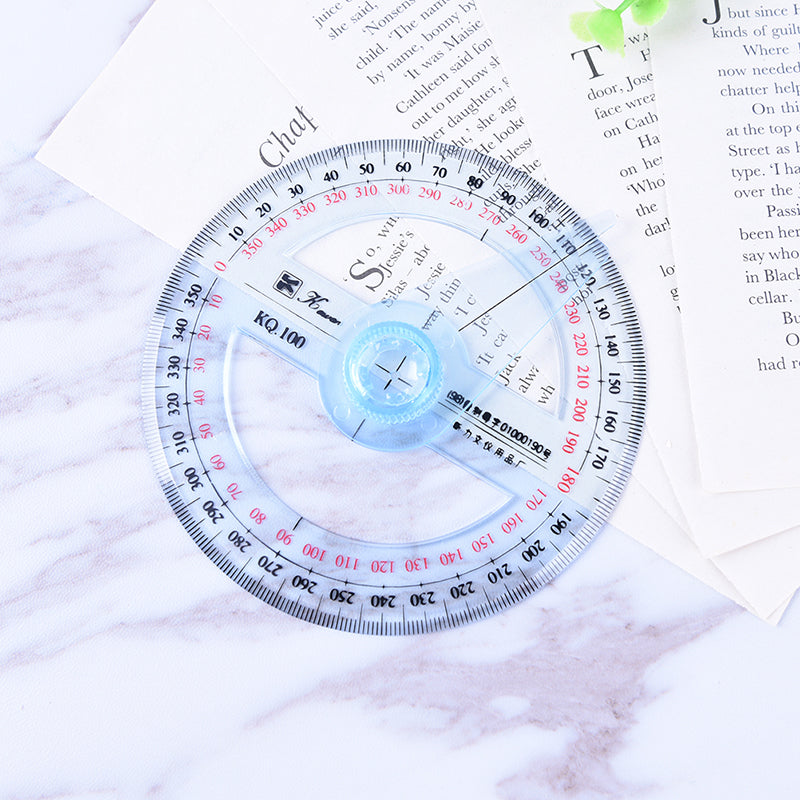 Plastic 360 Degree Protractor Ruler Angle Finder Swing Arm School Office