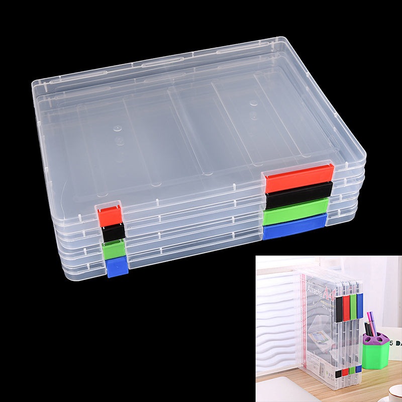 A4 Transparent Storage Box Clear Plastic Document Paper Filling Case File New,