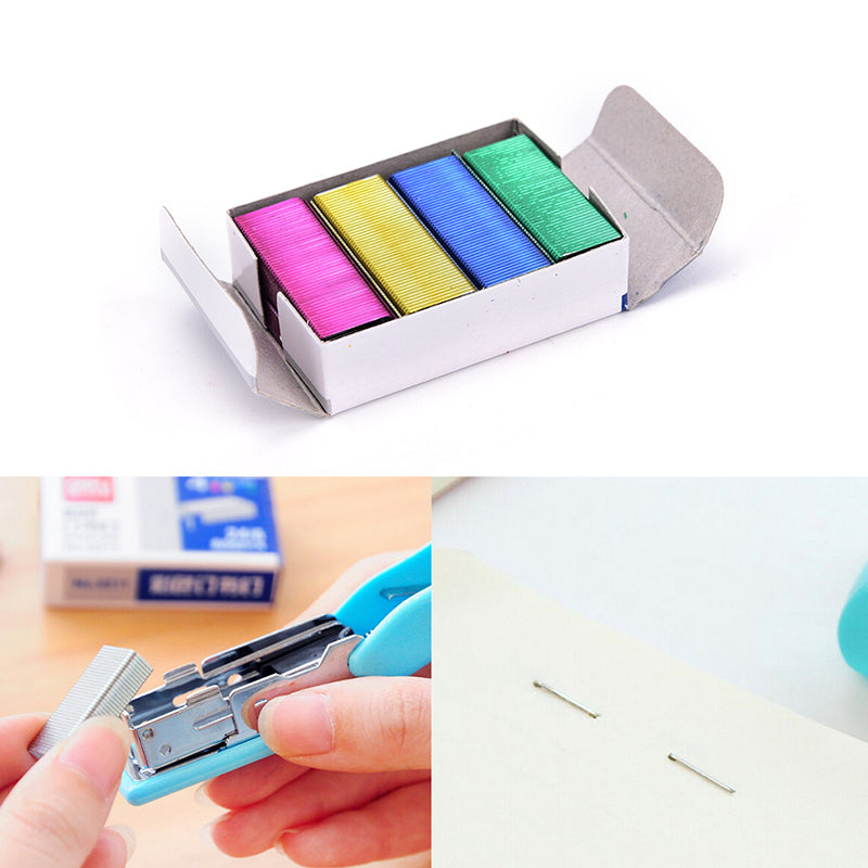 1Pack 10mm Creative Colorful Stainless Steel Staples Office Binding Supplies