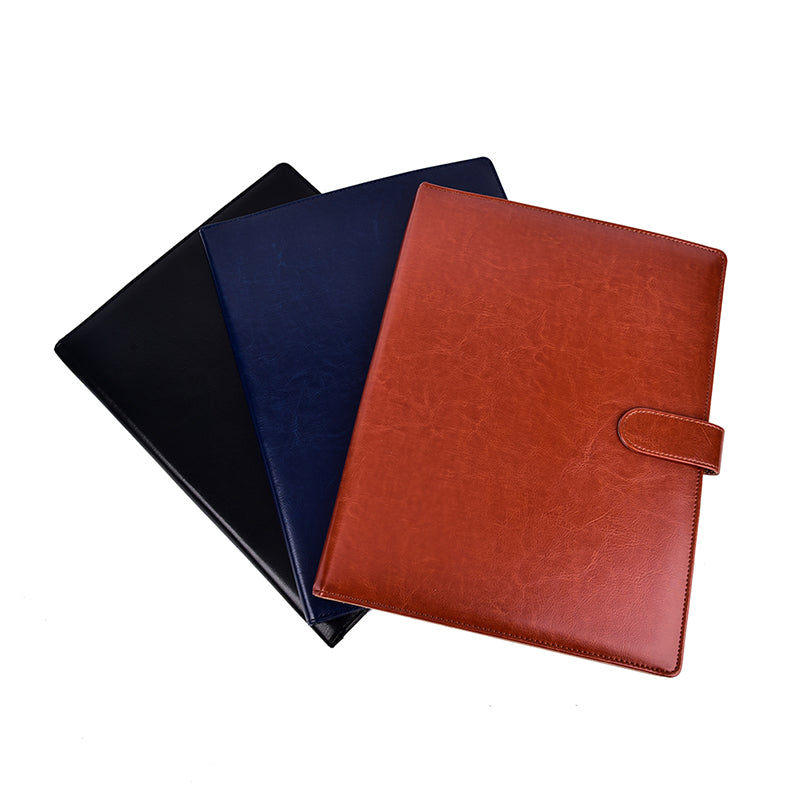 A4 PU Leather Document Bag File Folder Clip Board Business Office School Supplie