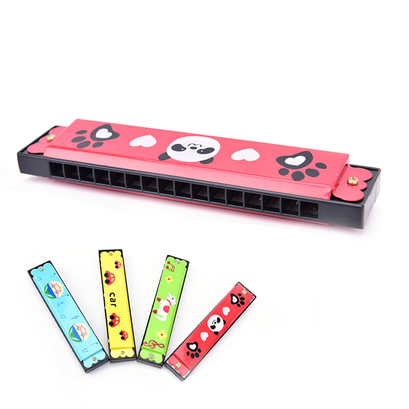 Kids Metal Cartoon 16 Holes Harmonica Mouth Organ Musical Instruments Toy