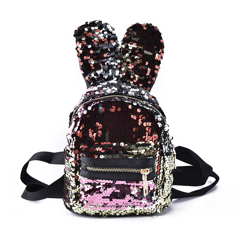 shinning bling sequins cute big rabbit ears backpack girls women mini travel bag