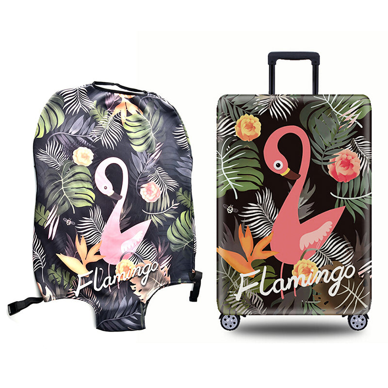 flower flamingo luggage protective cover case soft travel trolley suitcase bag