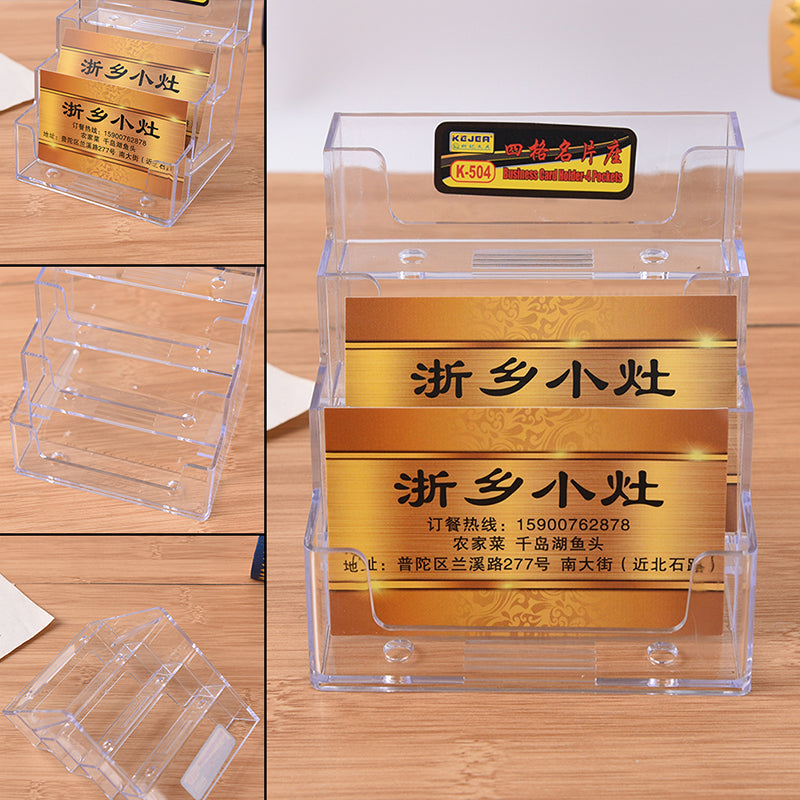 4 Pocket Desktop Clear Acrylic Business Card Holder Countertop Display Stand