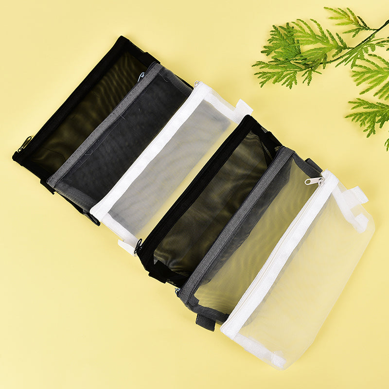 Clear Exam Pencil Case S/L Transparent Simple Mesh Zipper Stationery Bag School