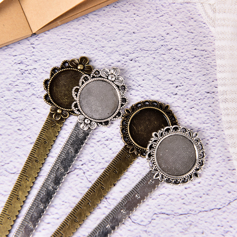 Vintage Metal Ruler Key ring Attachment Bookmark Ruler Scales Student Stationery