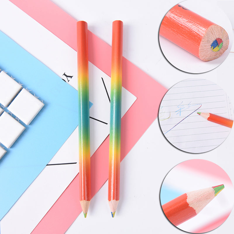 2pcs Rainbow Color Pencil 4 in 1 Colored Drawing Painting Pencils Pen School Kid