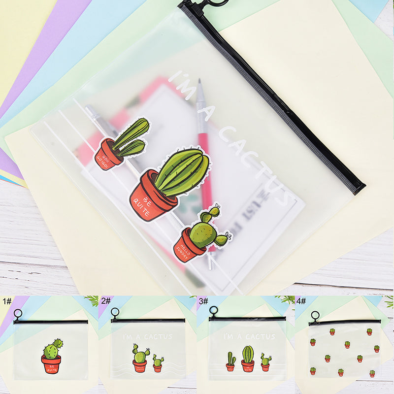 PVC Cactus File Folder Document Filing Bag Stationery Bag School Office Supplies