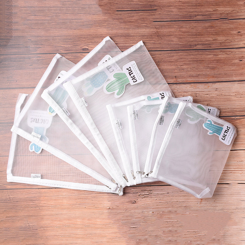 Cactus Clear Exam Pencil Case Transparent Simple Mesh Zipper Stationery Bag