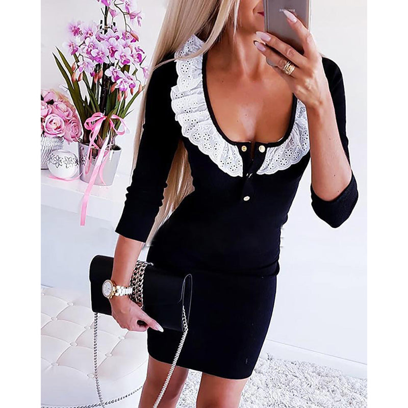 Women Long Sleeve Rufles Lace Bodycon Dress Evening Party Mini Sexy Dresses Top