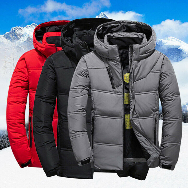 Winter Mens Quilted Duck Down Coat Padded Bubble Puffer Hooded Jacket Parka New