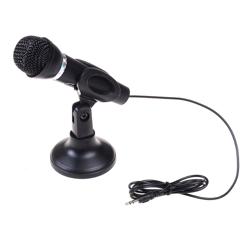 Black condenser sound microphone with stand for pc laptop