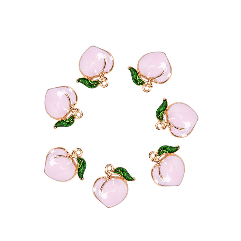 10PCS Fruit Peach Enamel Alloy Charms Pendant DIY Craft Jewelry Findings Gift