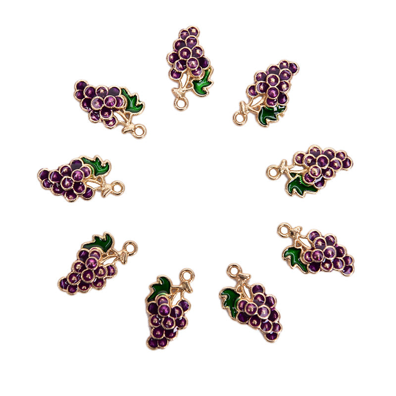 10Pcs/lot Alloy Enamel Grape Fruit Charms Pendants Craft DIY Jewelry Findings