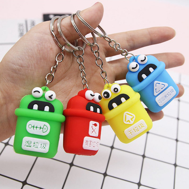 PVC Rubber Keyring Garbage Classification Key Chain Trash Can Pendant Keychain