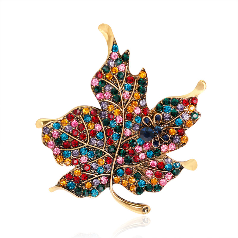 Colorful Maple Leaf Piercing Brooch Pin Collar Decor Badge Corsage Women Jewelry