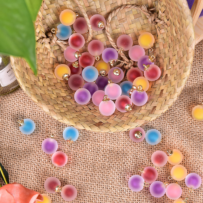 10PCS Multicolor Acrylic Frosted Beads Charm Pendant Making Crafts DIY Jewelry