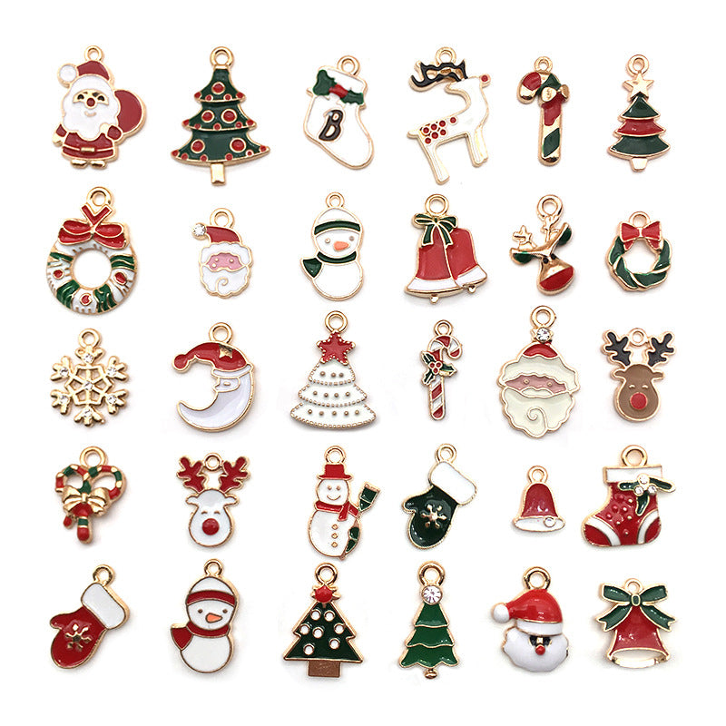 30Pcs/Set Mixed Christmas Style Enamel Charms Pendant DIY Jewelry Finding Crafts