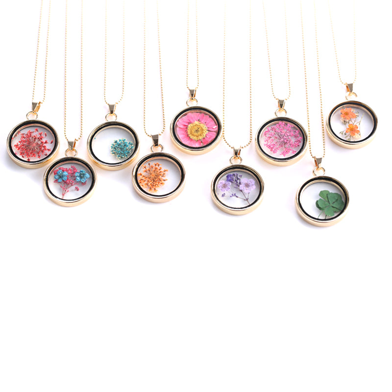 Women Geometric Dried Flower Acrylic Pendant Necklace Charm Chain Jewelry Gift