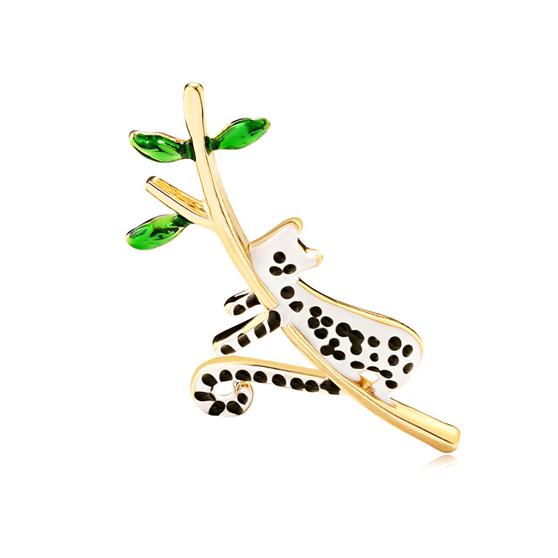 Elegant Women Enamel Alloy Animal Spot Cute Cat Brooch Pin Jewelry Decor Gift