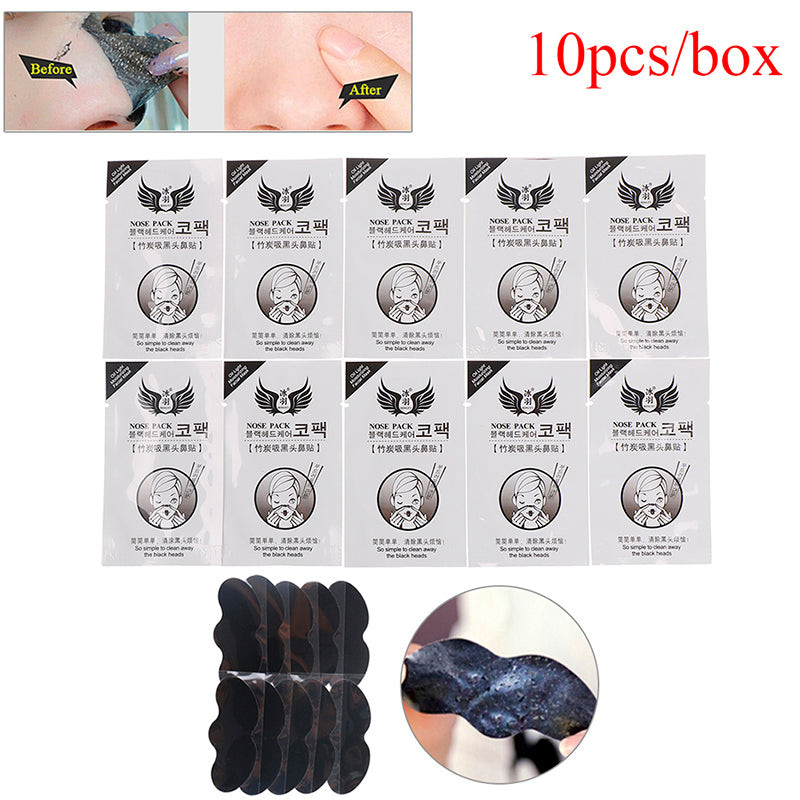 10pcs/box Bamboo Nose Pore Cleansing Strips Blackhead Peel Off Mask Pack