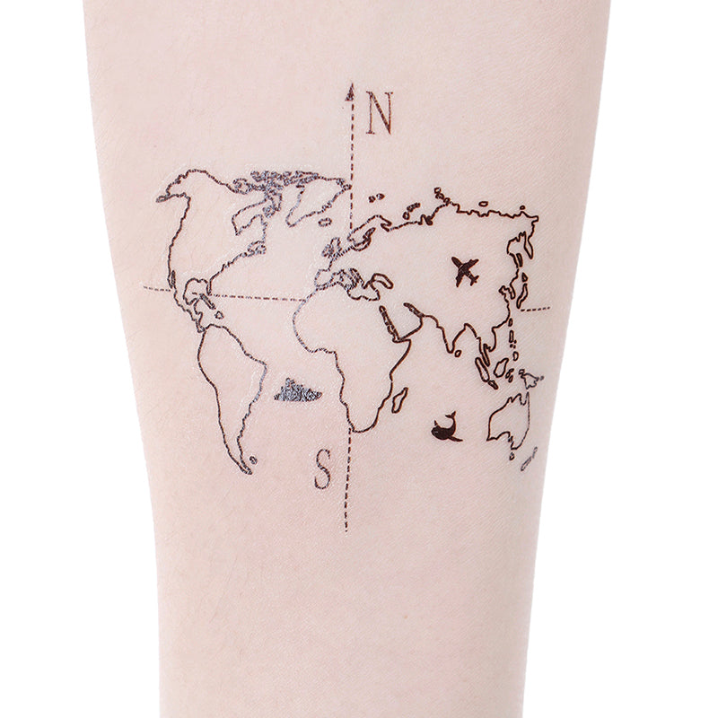 Waterproof Temporary Fake Tattoo Stickers Vintage Hand-painted Map Geometric