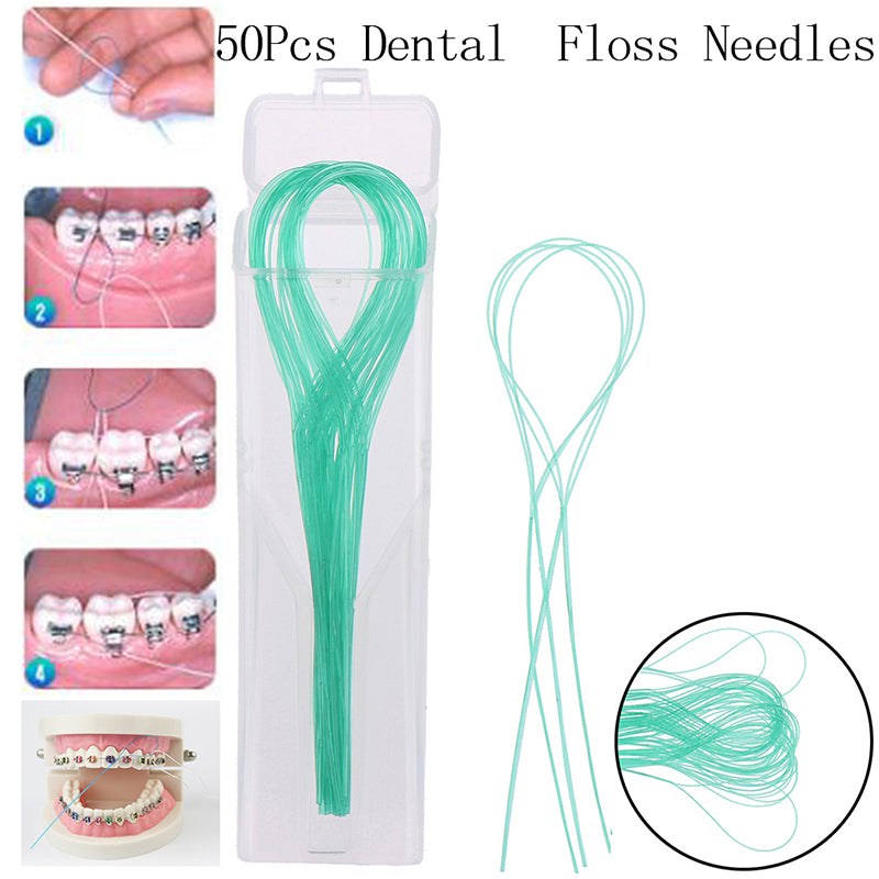 50Pcs Dental Floss Threaders Teeth Holder Between Orthodontic Braces Bridge Hilo