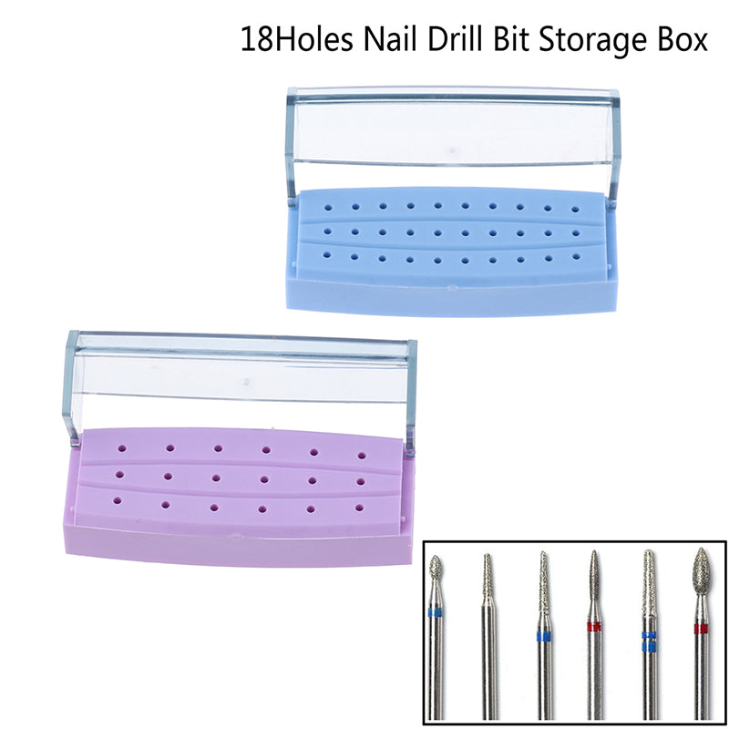 18 Holes Nail Art Drill Grinding Head Bit Holder Display Storage Container Box