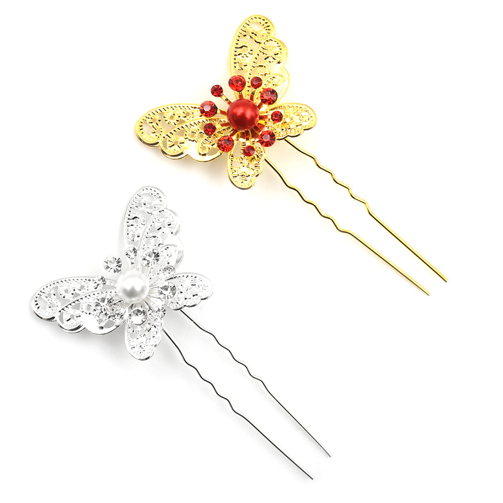 6pcs Wedding Bridal Bridesmaid Crystal Hair Pins Clips Butterfly Type