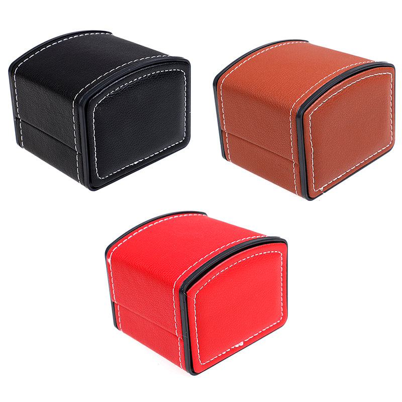 Faux leather square jewelry watch display gift box with pillow cushion