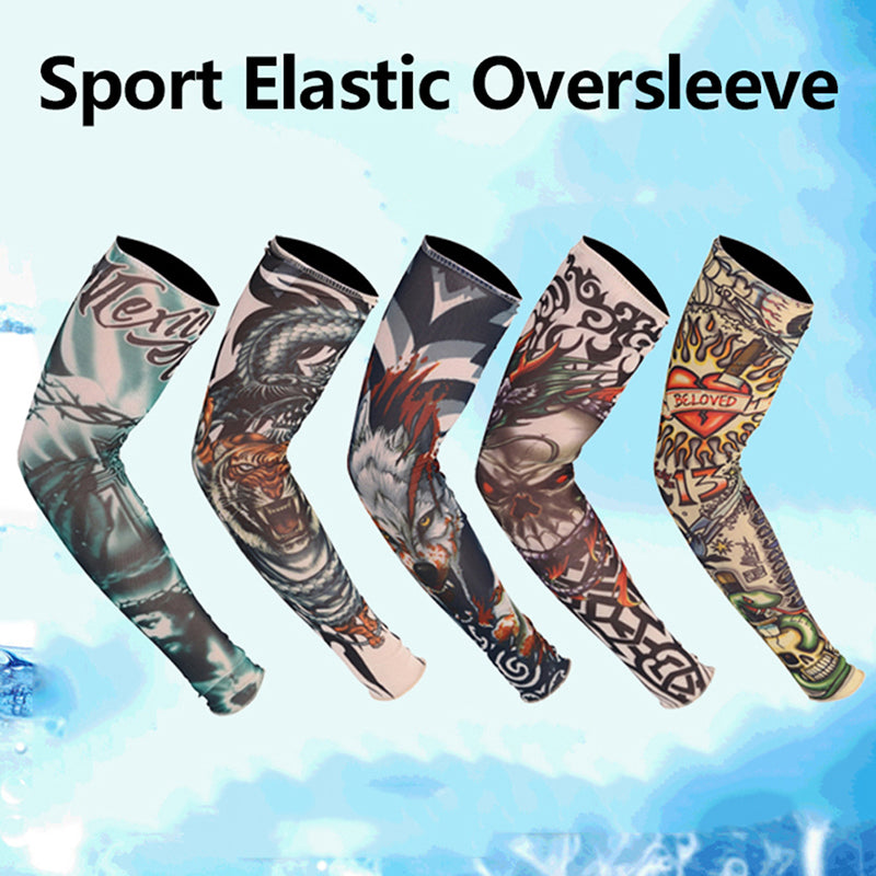 1Pc Sports Tattoo Sleeves UV Cool Arm Sleeves Cycling Sport Elastic Oversleeve