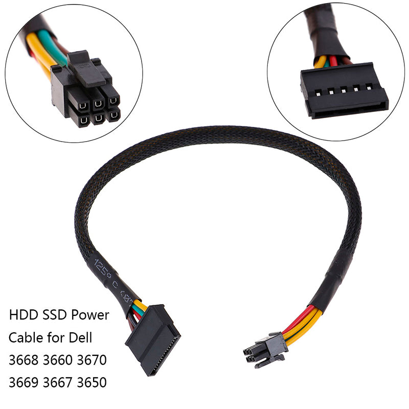 HDD SSD power cable 6 Pin to SATA 15Pin converter cable for dell 3668 3667 3650