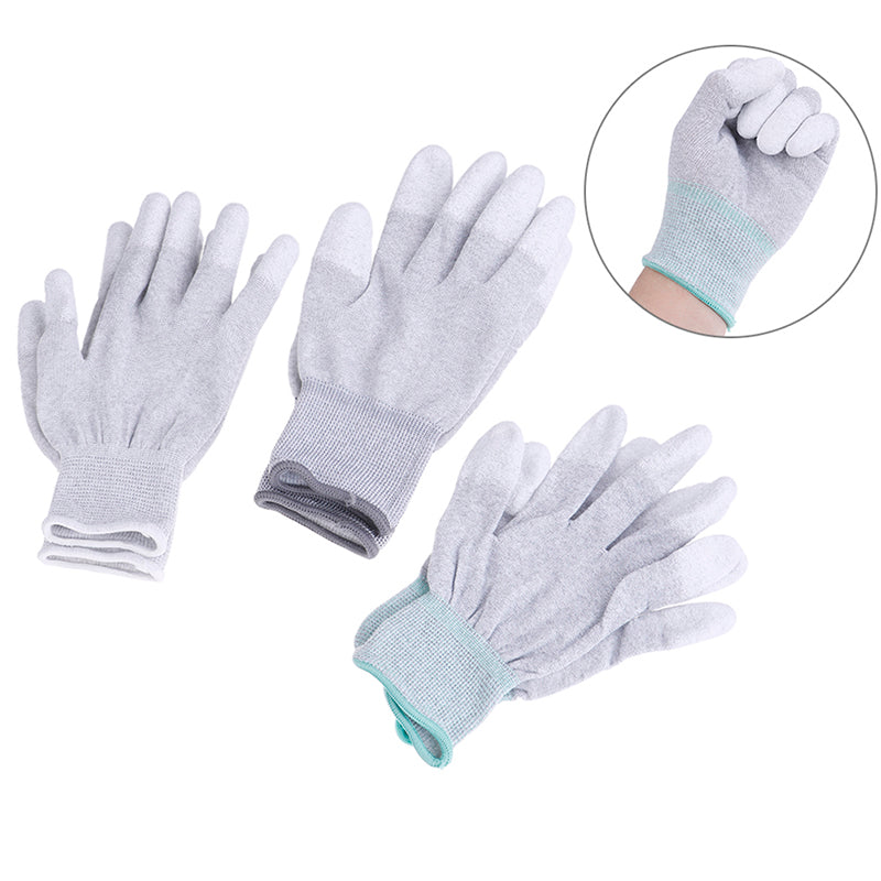1Pair carbon conductive fibre anti-static gloves electronic working pu coated