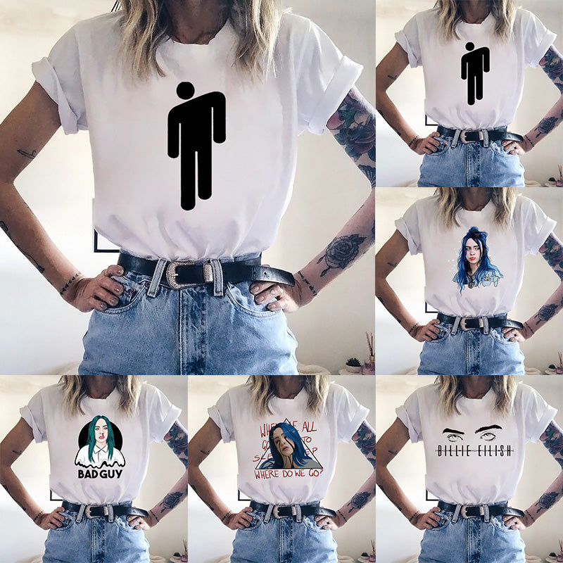 Billie Eilish Women Print Tshirt Short Sleeve White Tee Tops Graphic Tees Casual