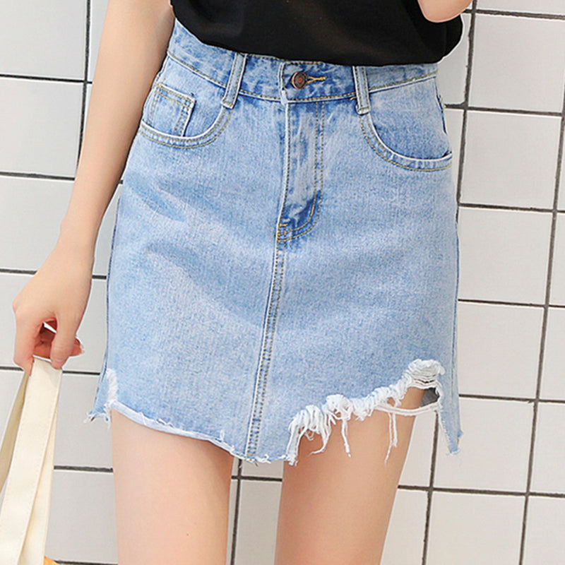 Women High Waist Denim Skirt Pleated A-line Mini Solid Button Pockets Skirts