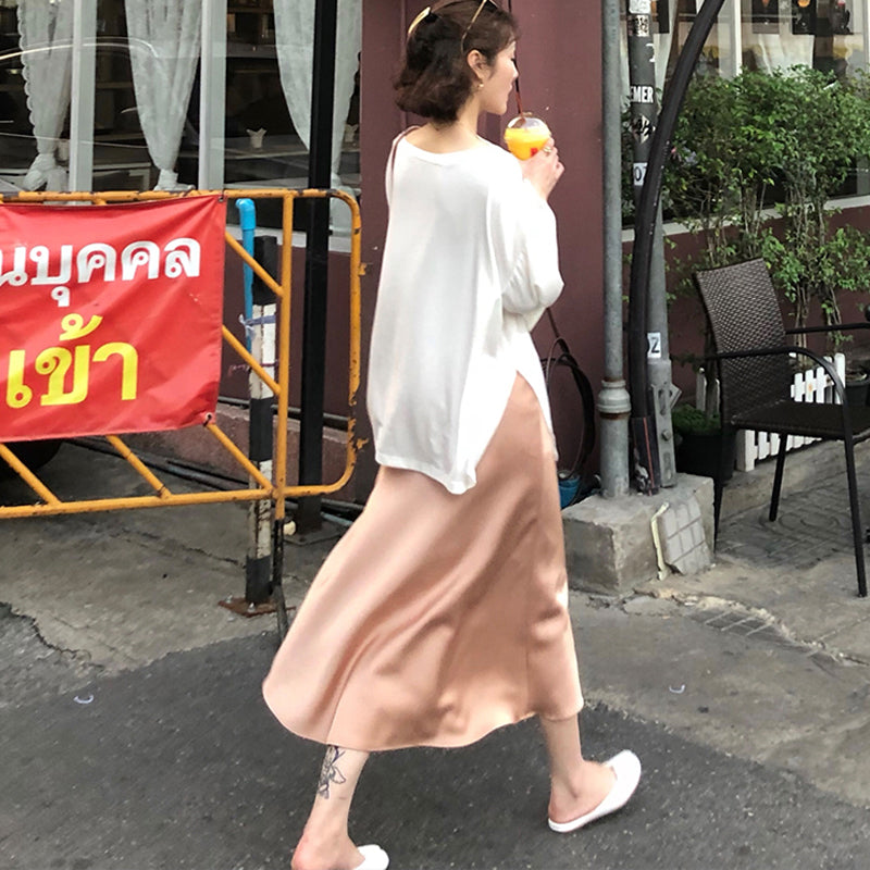 Women Silk Midi Skirt Slim High Waist Dress Casual A Line Pure Color Skirts