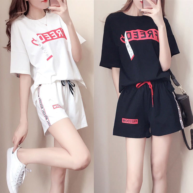 2Pcs Women Set Wear Top Tshirt Suit +Shorts Short Sleeve Tracksuit Casual Suits