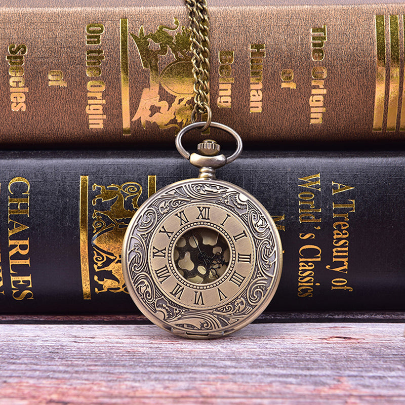 Vintage Bronze Steampunk Quartz Necklace Pocket Fob Watches Chain Clock