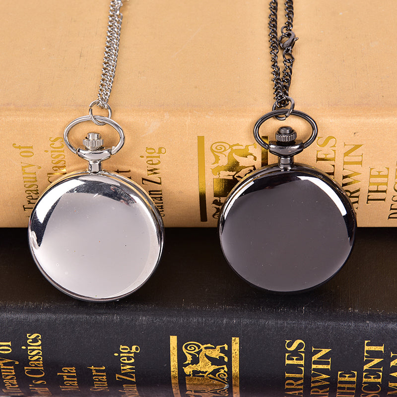 Retro Smooth Men Pocket Watch Polish Quartz Fob Pocket Watches Pendant  Gift