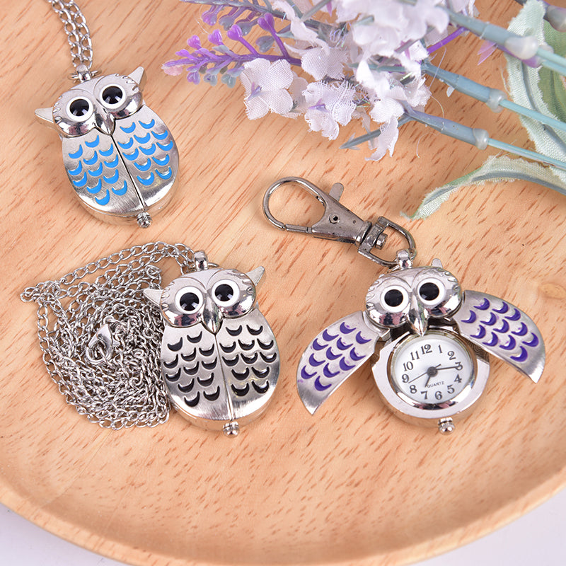 Vintage Bronze Cute Owl Pocket Watch Chain Necklace Pendant Flip Case Watch