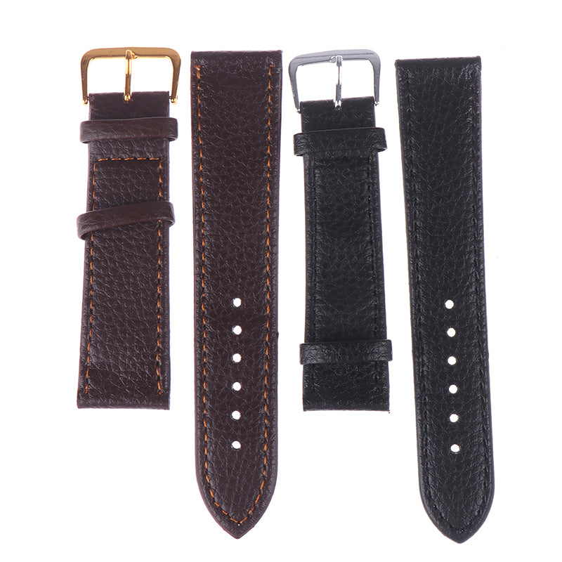 12-22mm Black brown watchband litchi stripe pu leather watch strap
